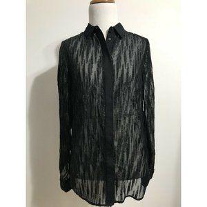 Reiss Button Down Metallic Sheer Blouse 0 Black